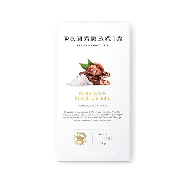 Chocolate PANCRACIO Negro 65% Nibs con Flor de Sal 100 grs