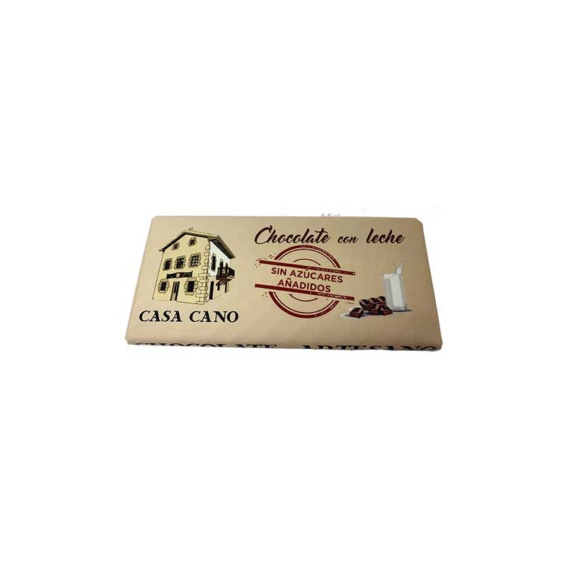 """Chocolate con Leche Artesano """"sin azucares añadidos"""" Casa Cano 125 grs"""